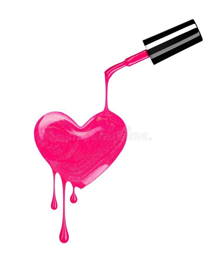 Respingo do verniz para as unhas sob a forma do coração com gotas ilustração do vetor