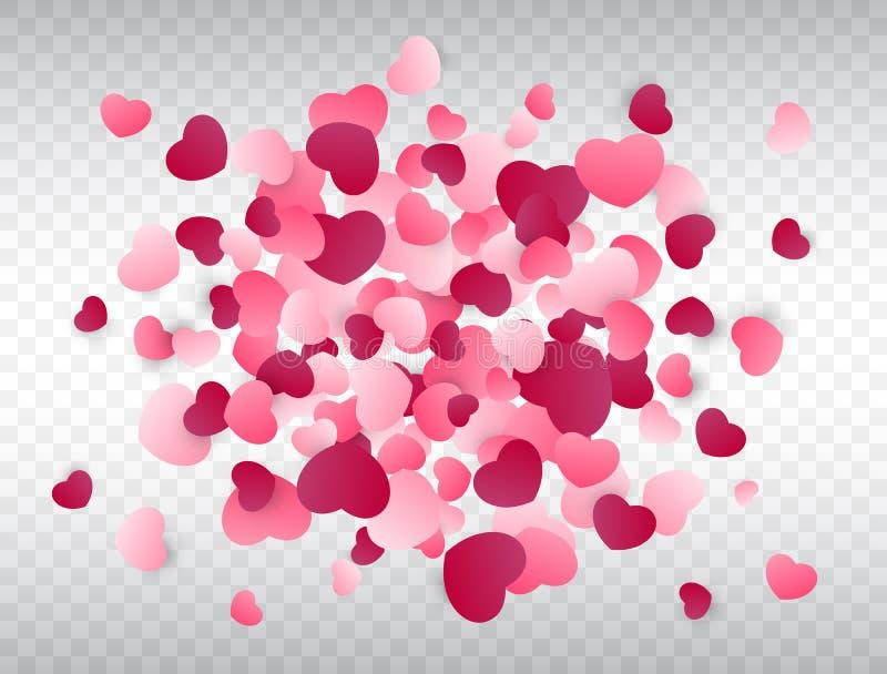 Respingo dos confetes do coração Fundo do amor Textura cor-de-rosa dos confetes Ilustração do vetor ilustração royalty free
