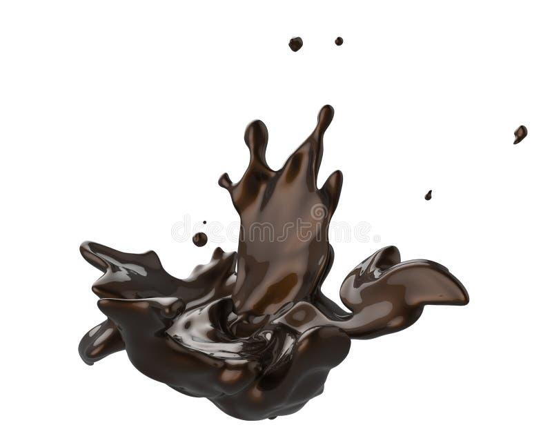 Respingo e chocolate escuro do giro isolado ilustração stock