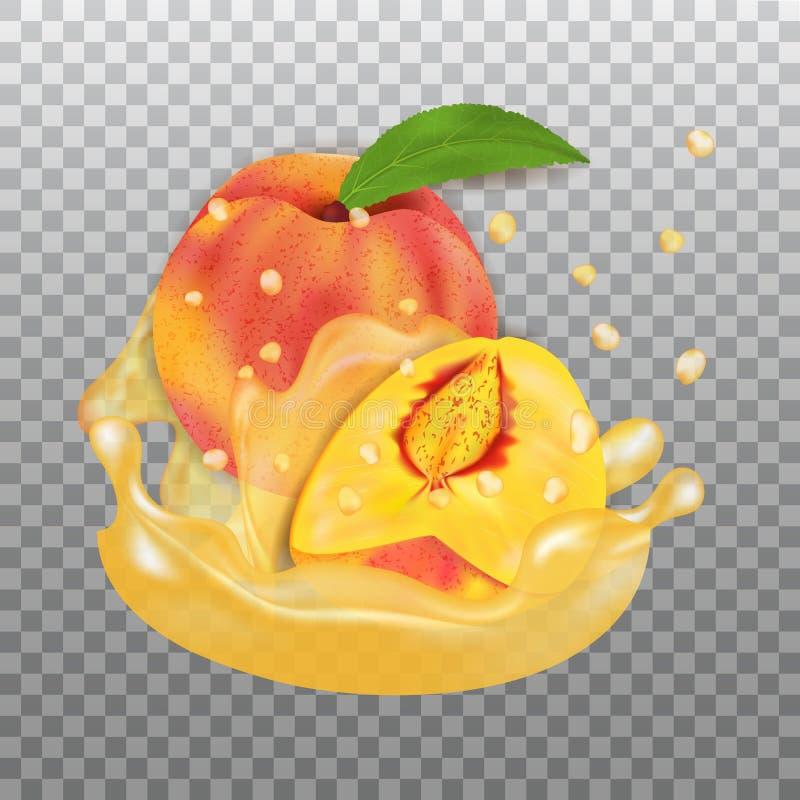 Respingo fresco do pêssego e do suco Vetor real?stico do fruto 3d no fundo transparente ilustração stock