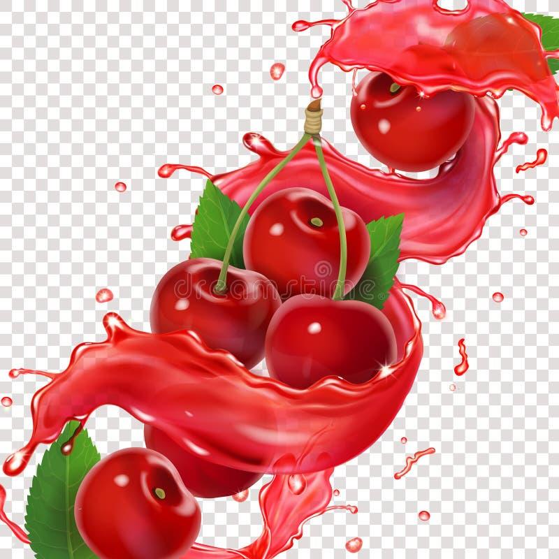Respingo fresco do suco da cereja para anunciar ilustração realística do vetor 3d para o projeto de pacote ilustração royalty free