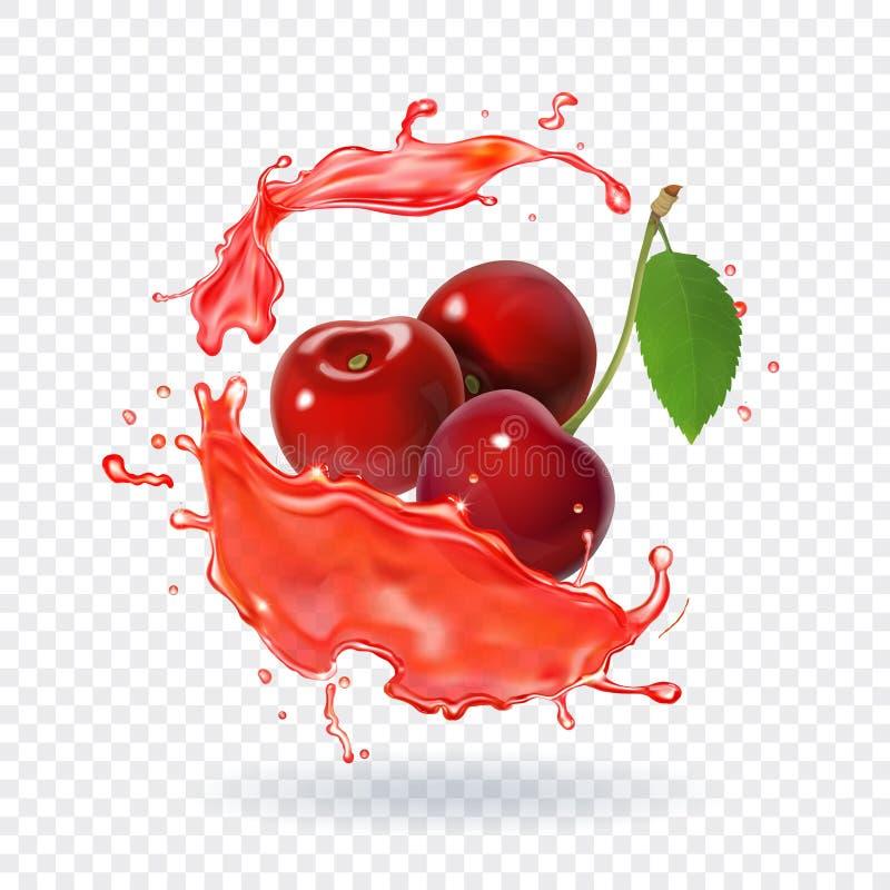 Respingo fresco realístico do fruto de baga do suco da cereja do suco ilustração stock