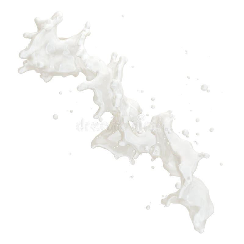 Respingo gordo do leite ou do iogurte com as gotas isoladas Trajeto de grampeamento incluído ilustração 3D ilustração stock