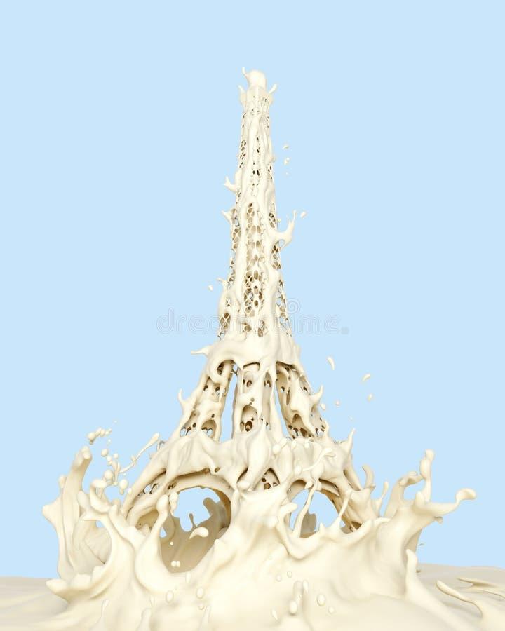 Respingo líquido do creme ou do iogurte branco do leite no formulário de Paris da torre Eiffel, isolado no fundo ilustração do vetor
