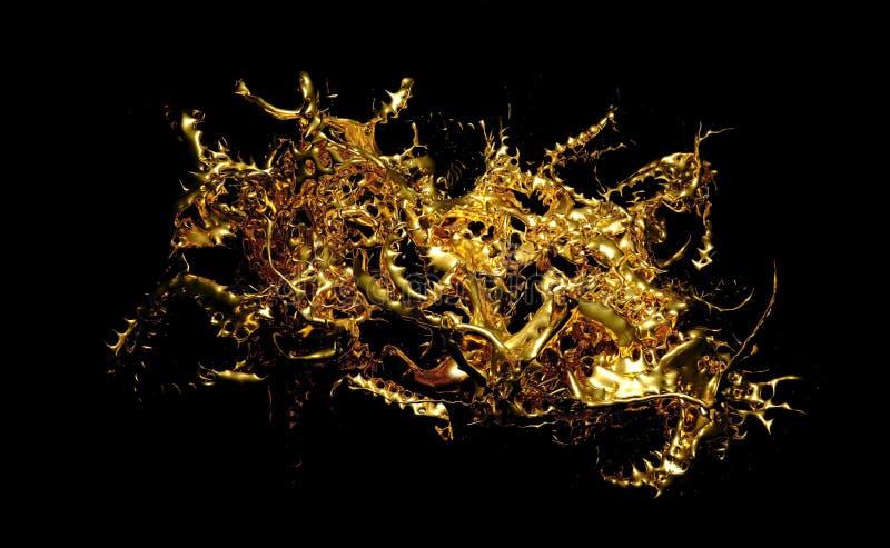 Respingo misterioso, místico, luxuoso do ouro com pulverizador do metal 3d ilustração, rendição 3d ilustração stock