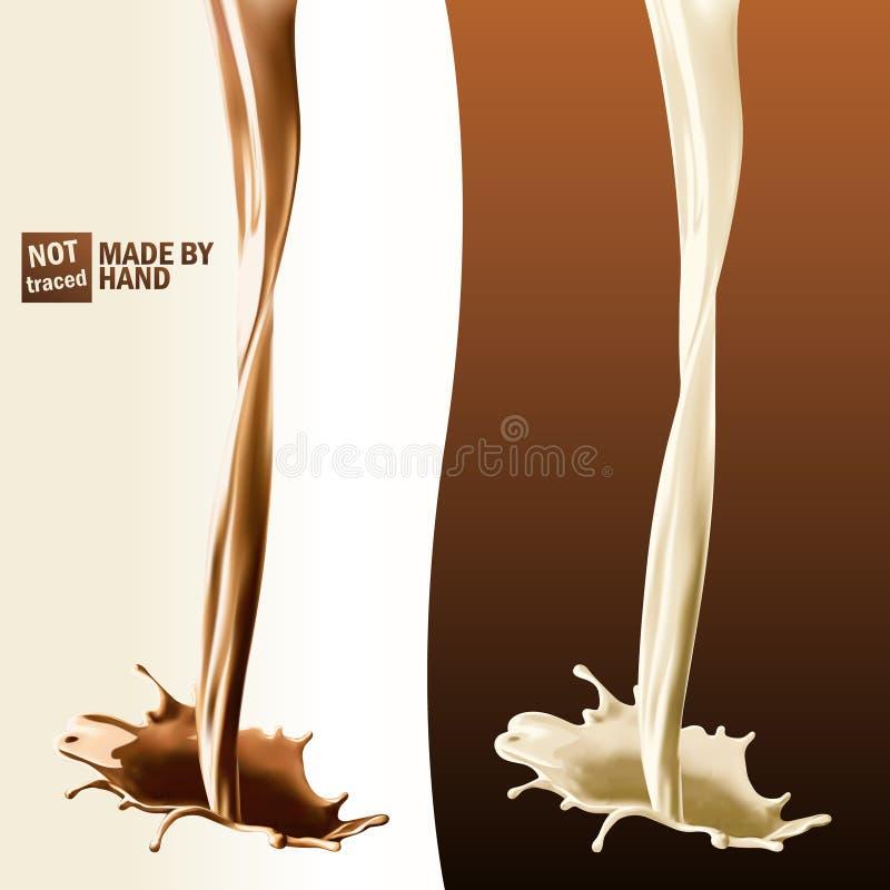 Respingo realístico do leite e do chocolate de derramamento Elementos isolados do projeto do vetor ilustração do vetor