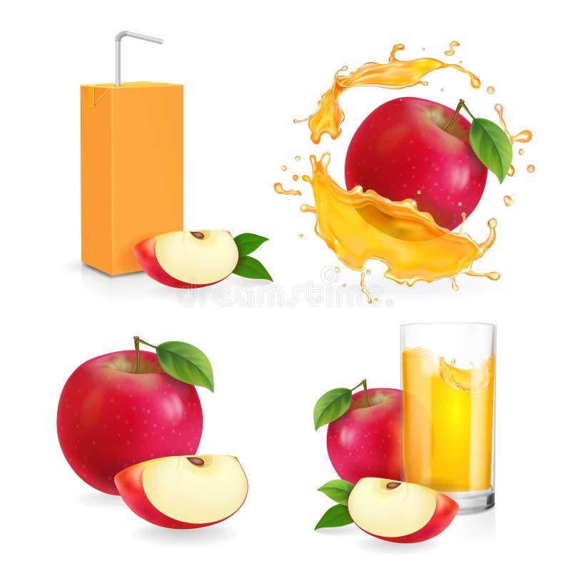 Respingo realístico do suco de maçã, vidro bebendo com flresh ilustração stock