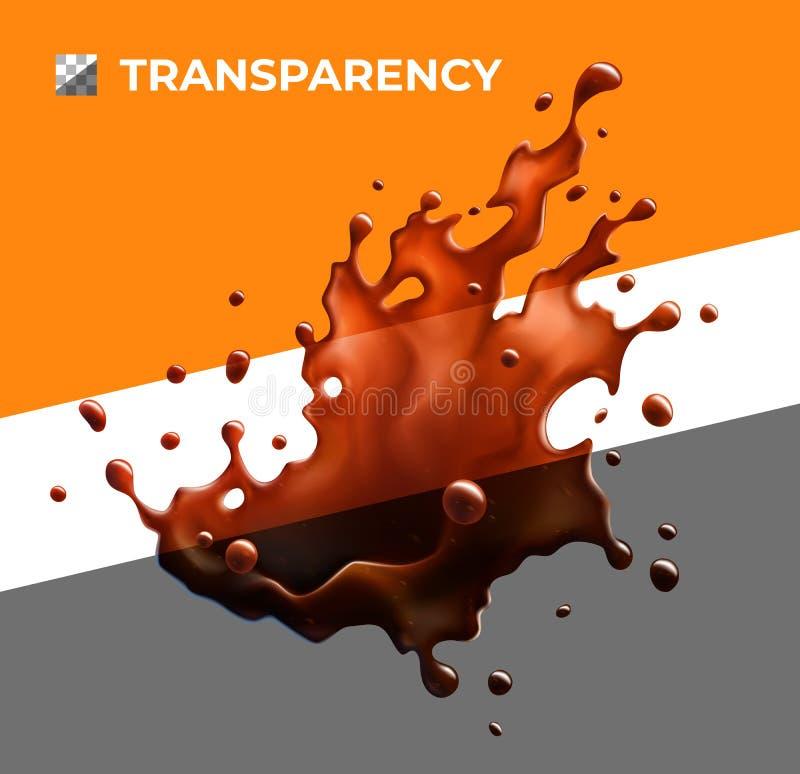 Respingo Semi-transparente do café preto objeto ilustração stock