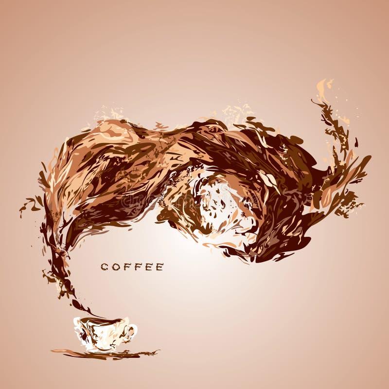Respingo surpreendente do café acima do copo branco Vetor ilustração stock