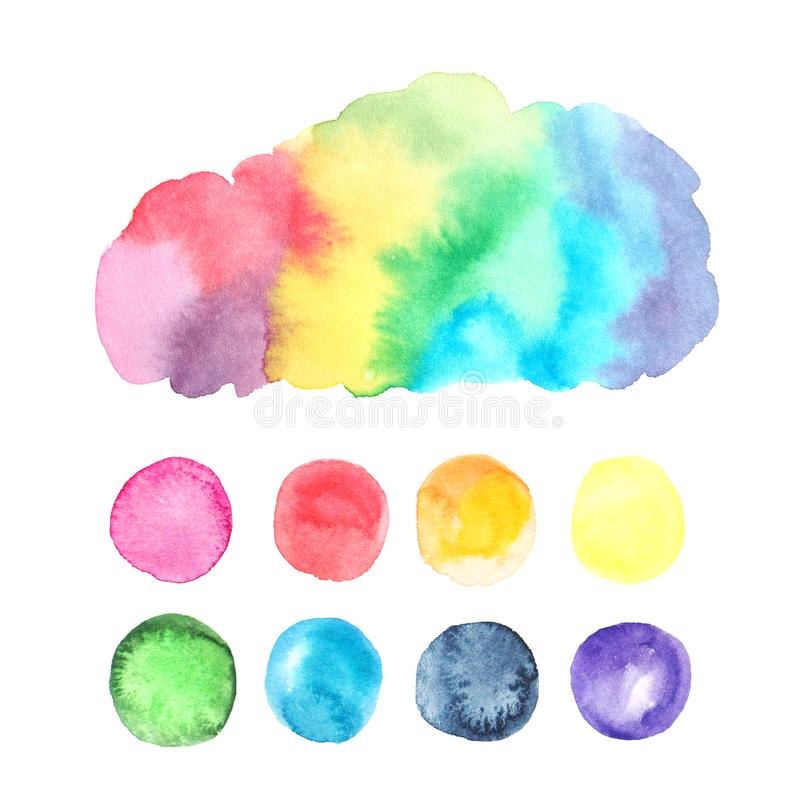 Respingo textured colorido da aquarela ilustração stock