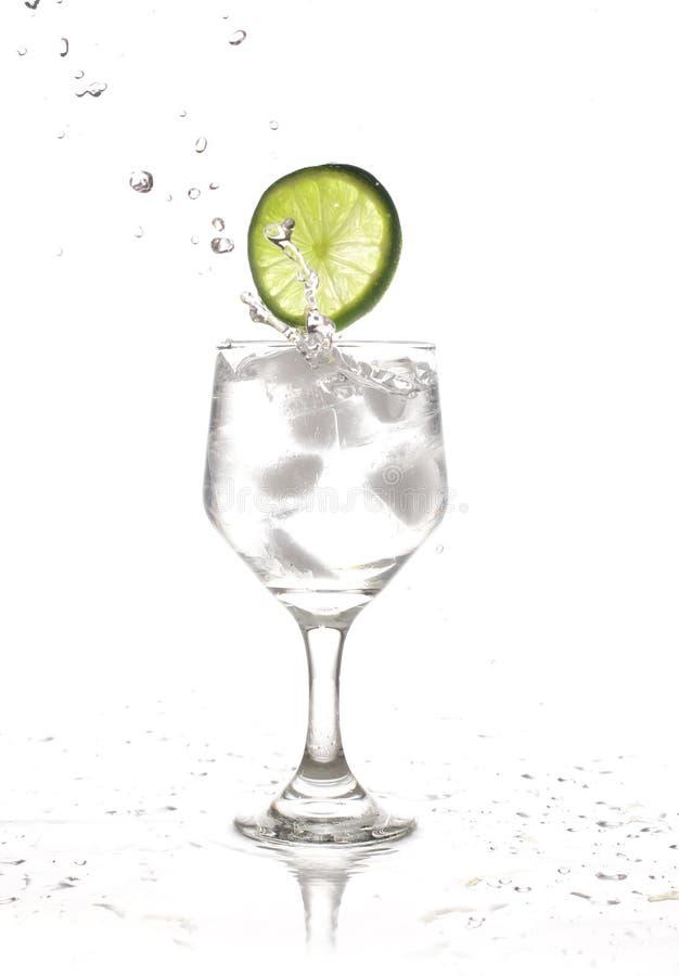 Respingo; um limão cai em um vidro da água imagem de stock