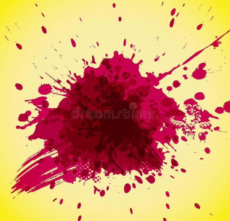 Respingo vermelho abstrato no fundo amarelo. ilustração royalty free