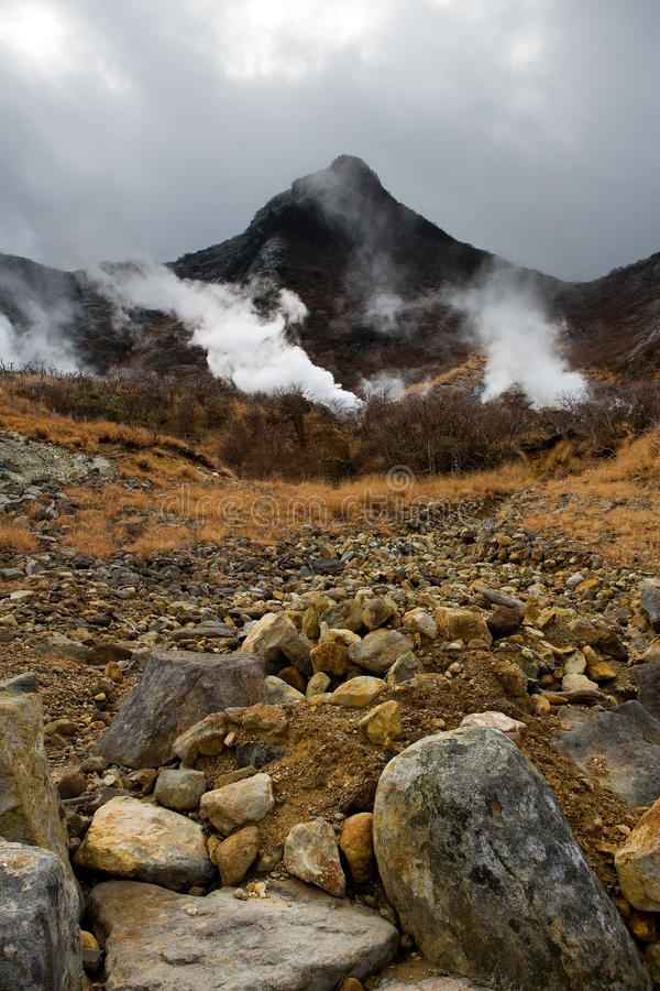 Respiradouros do enxôfre de Owakudani foto de stock royalty free