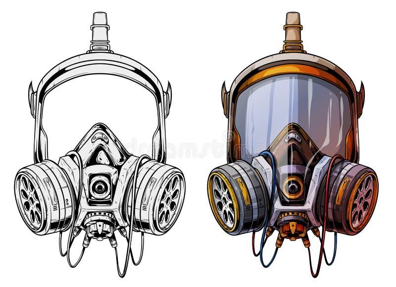 Respirateur protecteur détaillé de masque de gaz de graphique illustration stock