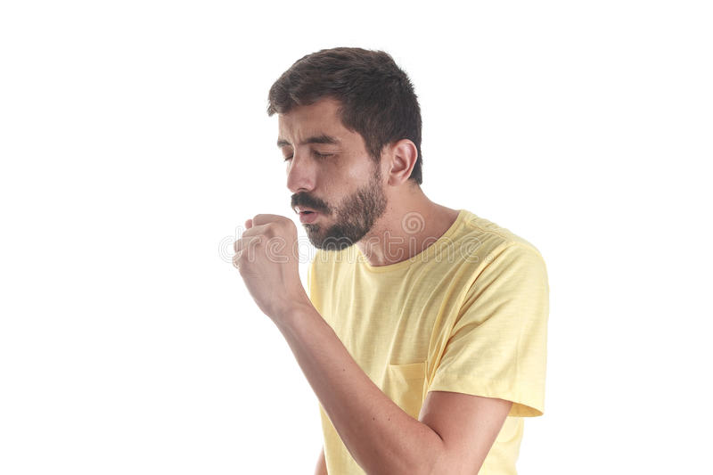 Respiratory disease. Young man coughing. On white background royalty free stock photos