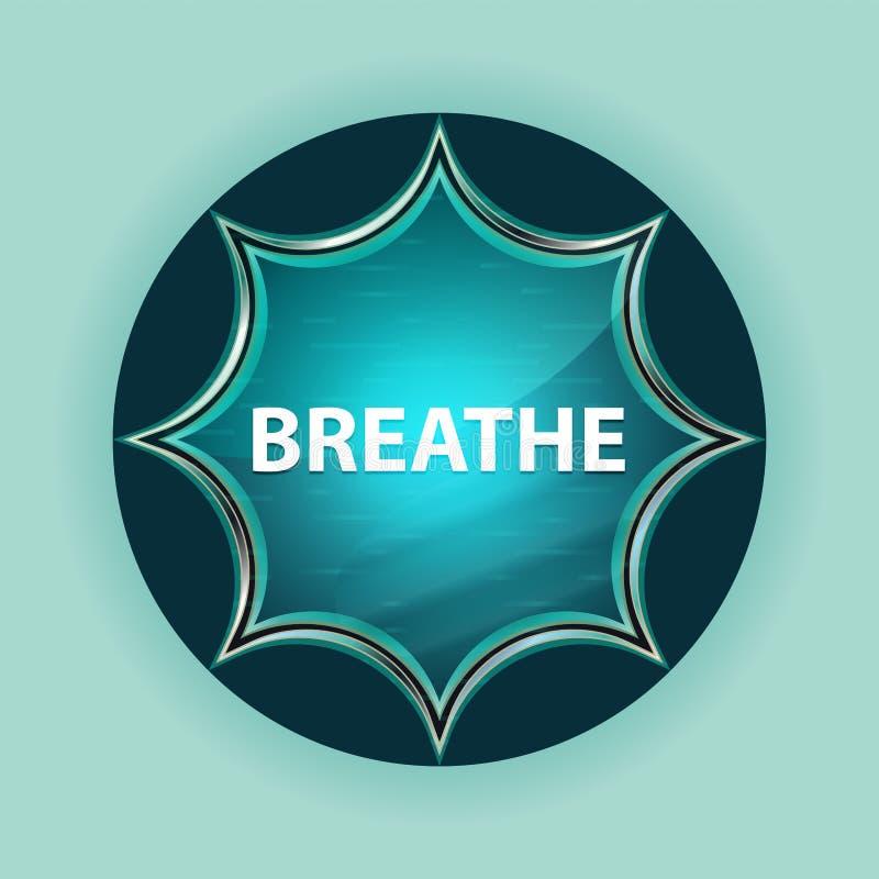 Respire o fundo azul sunburst vítreo mágico dos azul-céu do botão ilustração do vetor