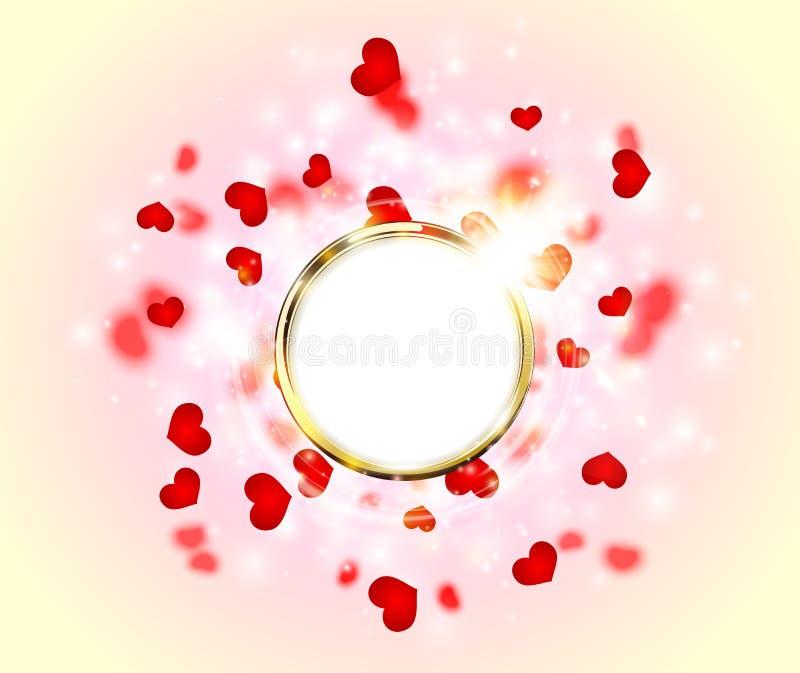 Resplandor chispeante abstracto Ring Frame Heart de oro para el día de tarjetas del día de San Valentín ilustración del vector