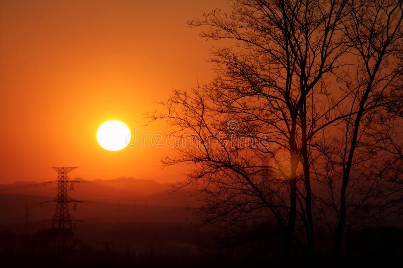 Resplandor de la puesta del sol imagen de archivo
