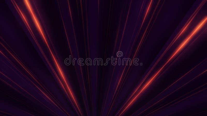 Resplandor de neón abstracto de las líneas del proyector animación Demostración de la luz del disco del laser en fondo negro Las  stock de ilustración