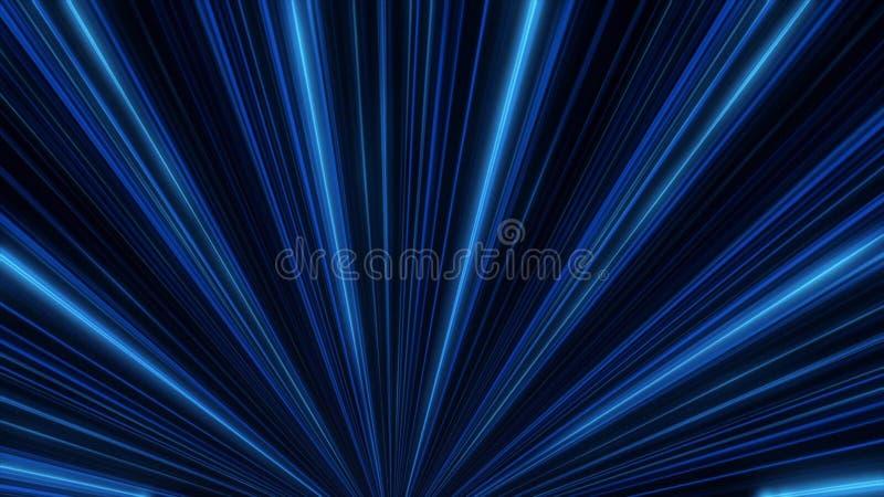 Resplandor de ne?n abstracto de las l?neas del proyector animaci?n Demostraci?n de la luz del disco del laser en fondo negro Las  stock de ilustración