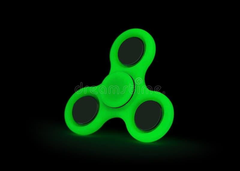 Resplandor en la oscuridad Hilandero verde de la persona agitada aislado en el fondo blanco Juguete del alivio de tensi?n Trayect fotos de archivo
