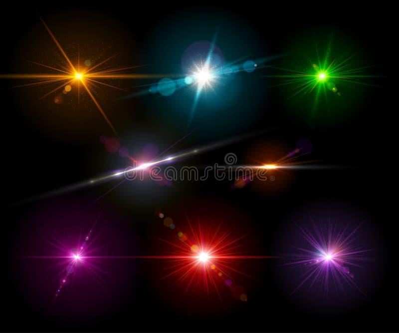 Resplandor ligero realista determinado, punto culminante Efectos luminosos, flash stock de ilustración