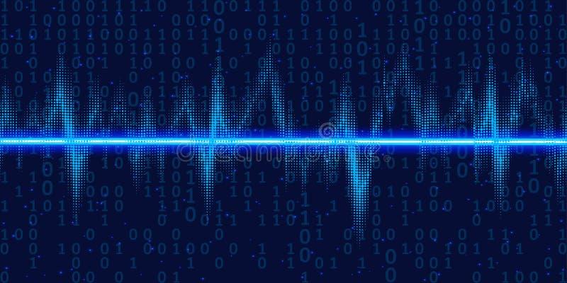 Resplandor oscilante de las ondas acústicas con el código binario, luz de neón Fondo abstracto de la tecnología, ejemplo del vect ilustración del vector