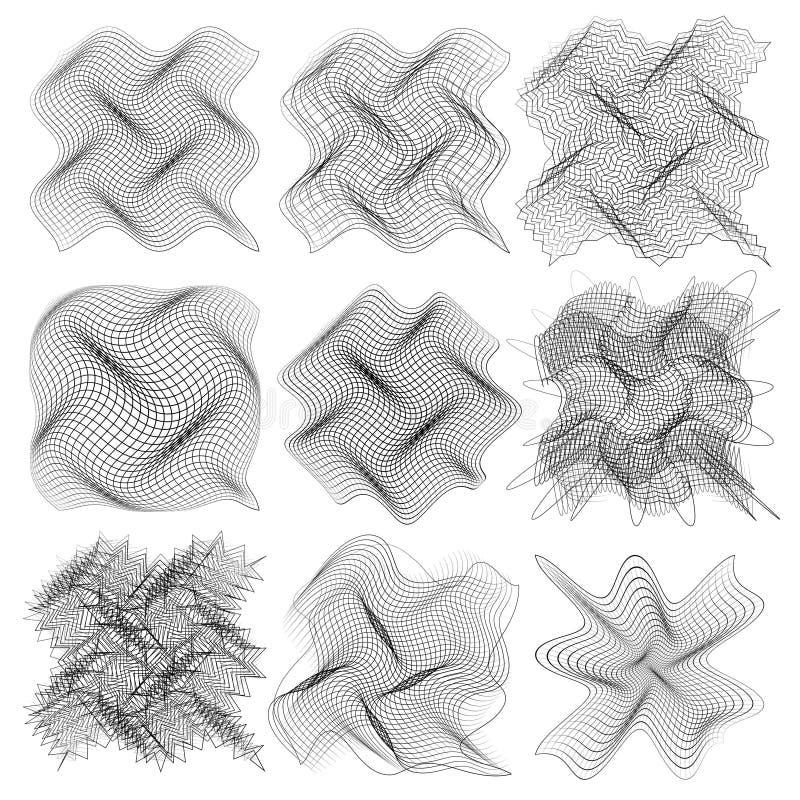 Resplandor oscilante de las ondas acústicas, luz de neón Fondo abstracto de la tecnología stock de ilustración