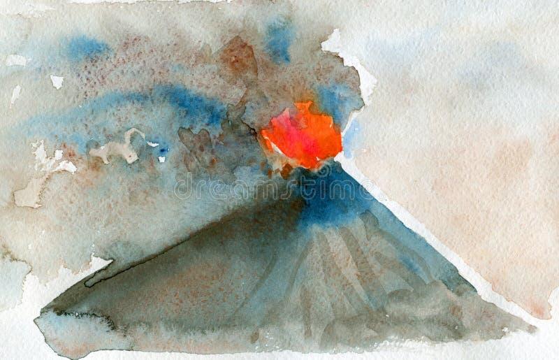Resplandor rojo del magma de levantamiento erupción Pintura de la acuarela libre illustration