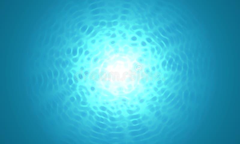 Resplandor solar en el submarino azul profundo, fondo de pintura del estilo stock de ilustración