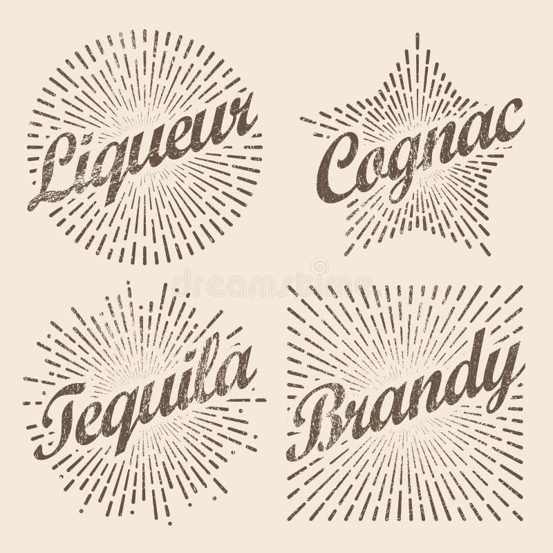 Resplandor solar retro del diseño, starburst radiante para el brandy y alcohol libre illustration