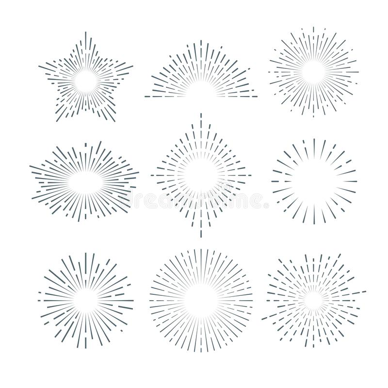 Resplandor solar retro, starburst radiante, línea abstracta sistema de la sol del vintage del vector libre illustration