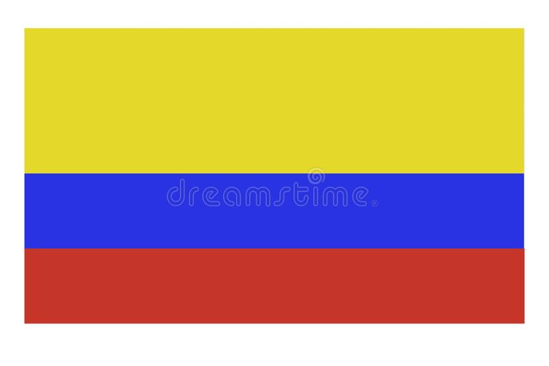 Resplendent Colombian flag waving in the wind set against a beautiful blue sky stock illustration