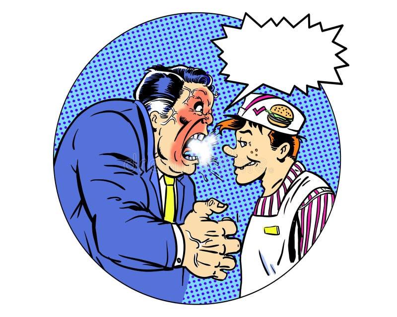 Responsabile arrabbiato illustrato comico degli alimenti a rapida preparazione con il pallone di dialogo illustrazione di stock