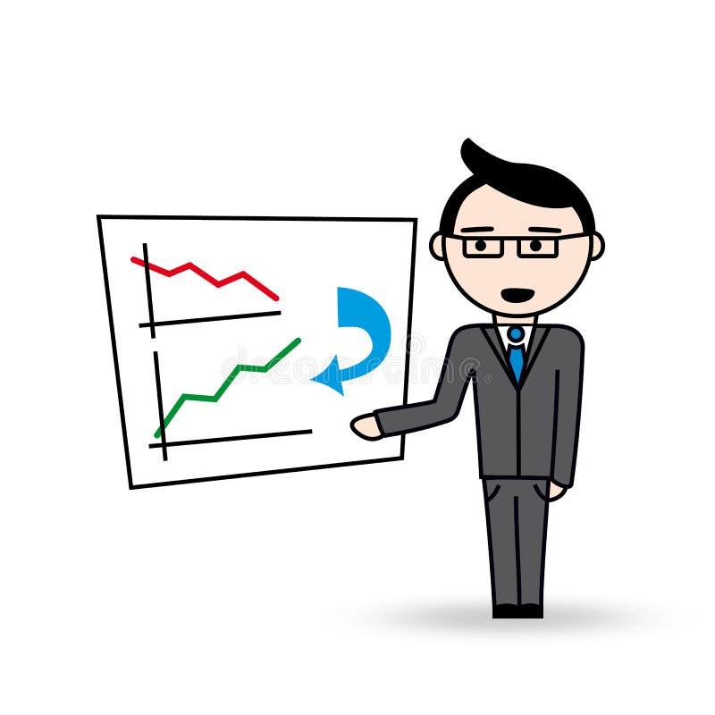 Responsabile con il business plan illustrazione di stock