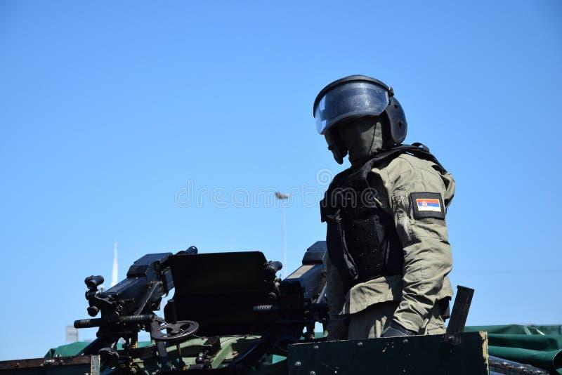 Responsabile dell'unità antiterroristica speciale serba immagini stock