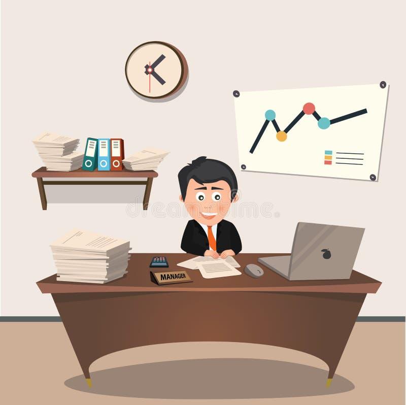 Responsabile di ufficio nel luogo di lavoro, progettazione piana illustrazione di stock