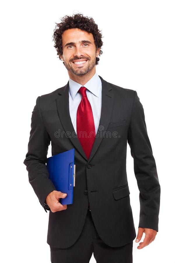 Responsabile maschio su fondo bianco fotografia stock