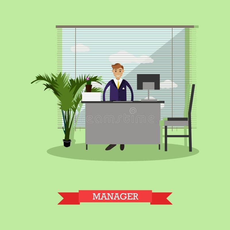 Responsabile o impiegato di concetto che si siede sulla sedia e che lavora con il computer Stile piano dell'illustrazione di vett illustrazione vettoriale