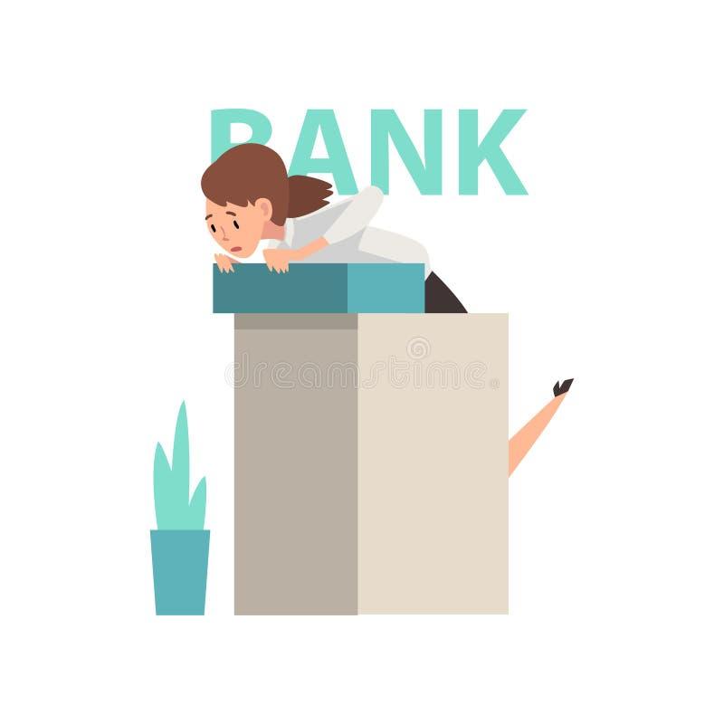 Responsabile spaventato Standing alla reception all'ufficio della Banca, illustrazione di vettore di rapina in banca royalty illustrazione gratis