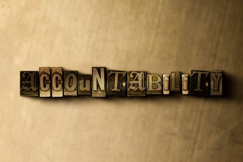 RESPONSABILIDAD - primer de la palabra compuesta tipo vintage sucio en el contexto del metal ilustración del vector