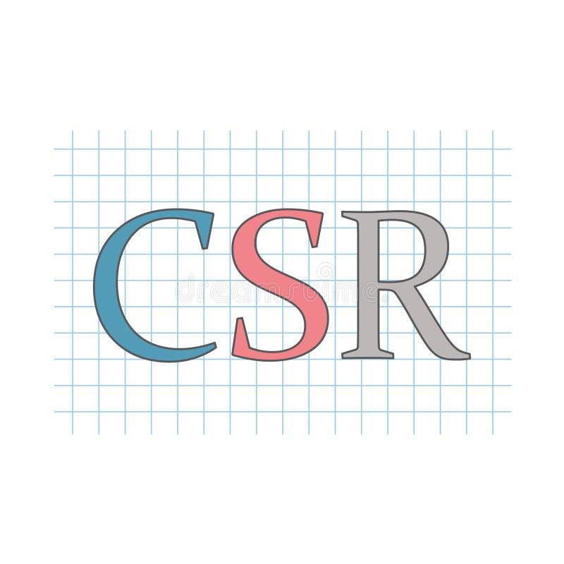 Responsabilidad social corporativa del CSR escrita en el papel a cuadros stock de ilustración