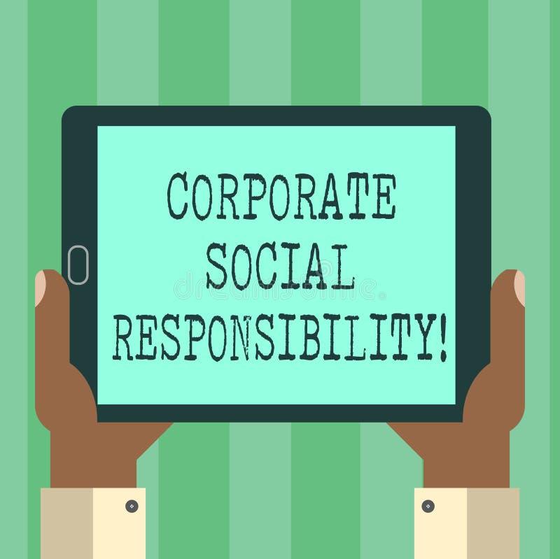 Responsabilidad social corporativa del texto de la escritura Análisis de organización interno de Hu de la política o de la estrat ilustración del vector