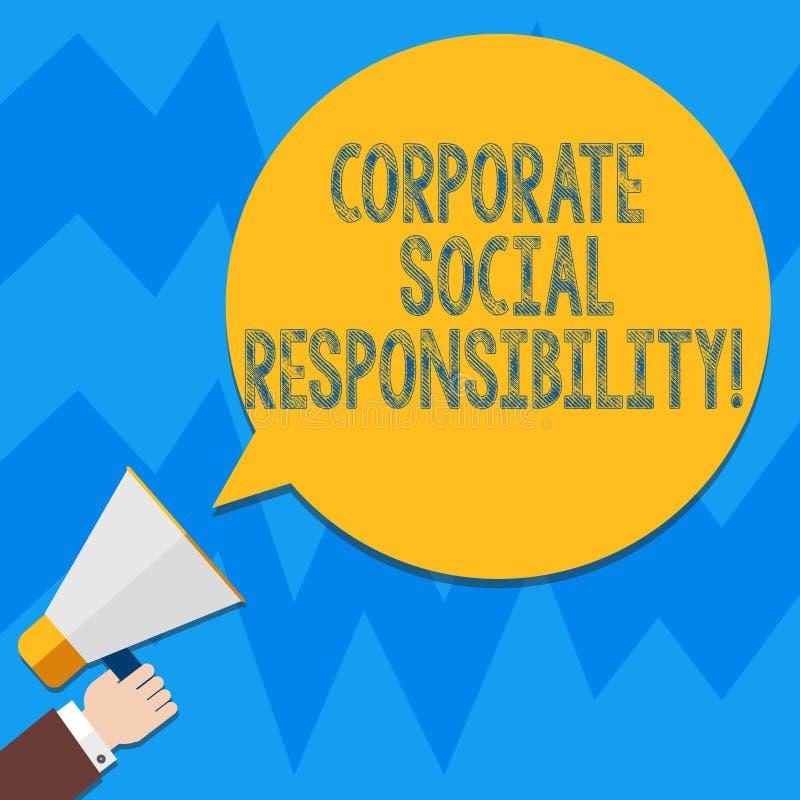 Responsabilidad social corporativa del texto de la escritura de la palabra Concepto del negocio para el análisis de organización  libre illustration