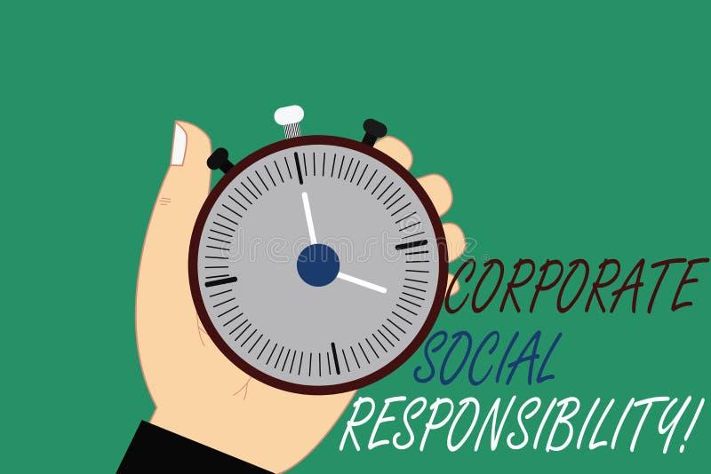 Responsabilidad social corporativa del texto de la escritura de la palabra Concepto del negocio para el análisis de organización  ilustración del vector