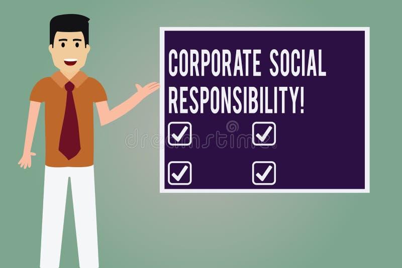 Responsabilidad social corporativa del texto de la escritura de la palabra Concepto del negocio para el hombre de organización in stock de ilustración