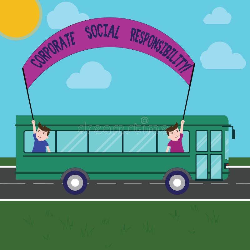 Responsabilidad social corporativa del texto de la escritura de la palabra Concepto del negocio para los niños de organización in libre illustration