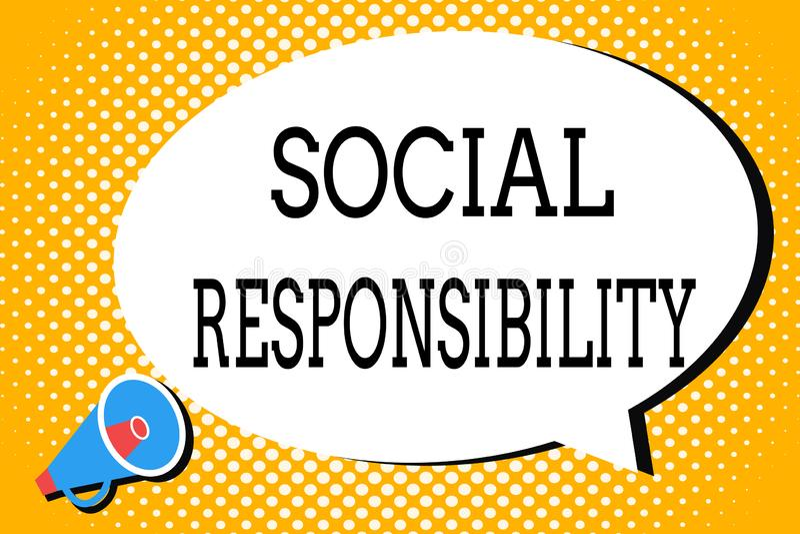 Responsabilidad social del texto de la escritura de la palabra Concepto del negocio para la obligación en.beneficio de la balanza ilustración del vector