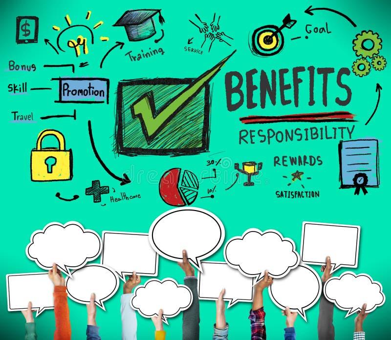 A responsabilidade dos benefícios recompensa o conceito da satisfação da habilidade do objetivo ilustração stock