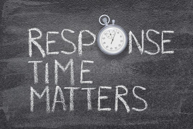Response time matters watch. Response time matters phrase handwritten on chalkboard with vintage precise stopwatch used instead of O royalty free stock photos